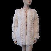 Shaggy Cardigan Sweater Vintage 1970s Crocheted Winter White Pom Poms Acrylic