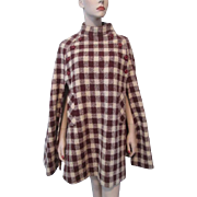 Plaid Wool Poncho Cape Vintage 1970s Handwoven Tweed Donegal Ireland