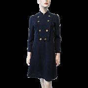 Navy Blue Military Style Coat Dress Vintage 1970s Designer Label