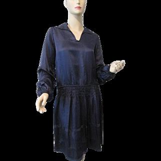 Silk Flapper Dress Vintage 1920s Indigo Purple
