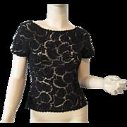Fred Adlmuller Black Velvet Top Vintage 1940s Womens Evening Wear Passementerie Soutache Ribbon Net Lace