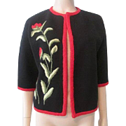Adlmuller Haute Couture Vintage 1950s Cardigan Sweater Black Red Floral Wool Crewel Italian Italy