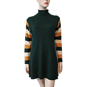 Womens Sweater Dress Vintage 1970s Forest GreenShift Striped Sleeves Turtleneck
