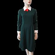 Christmas Secretary Dress Vintage 1970s Green Red White Retro Polyester Leslie Fay Original Bow Neck
