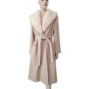 Tan Wool Rabbit Fur Coat Vintage 1970s Belt Wrap Penny Lane Style Youthcraft