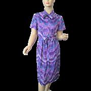 Purple Print Day Dress Vintage 1960s Bow Neck Belt Chevron Stripe