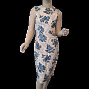 Blue Floral Wiggle Dress Vintage 1950s Linen Sleeveless Flowers