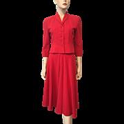 Red Wool Skirt Suit Jacket Vintage 1940s Womens Hannah Troy Designer Separates
