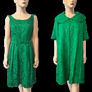 Green Brocade Wiggle Dress Opera Coat Vintage 1960s Mod Jackie O Christmas Holiday Party Suit Set