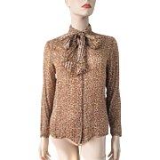 Silk Leopard Print Blouse Vintage 1960s Bow Neck Pussybow Scarf Ascot
