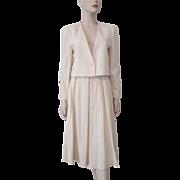 Womens Wool Suit Skirt Jacket Vintage 1970s Winter White Ivory Designer John Meyer Of Norwich Set