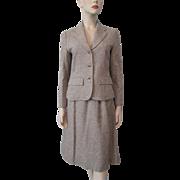 Pendleton Tweed Wool Suit Womens Vintage 1970s Jacket A Line Skirt Suede Belt