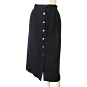 Womens Black Wool Skirt Vintage 1970s Button Front A Line California Label