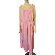 Vintage 1920s Pink Silk Crepe Flapper Peasant Dress Lace Trim