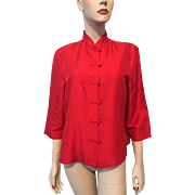 Red Silk Asian Blouse Vintage 1980s Womens Clio Tunic