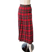Red Plaid Wool Pleated Skirt Vintage 1970s Scotland Wrap Around Kinloch Anderson