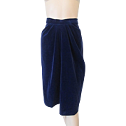 Womens Vintage 1970s Blue Velvet Skirt
