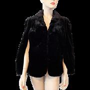 Vintage 1940s Black Faux Fur Stole