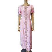 Vintage 1960s Pink Silk Faille Beaded Gown Dress Maxi Length