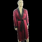 Mens Smoking Jacket Satin Dressing Gown Vintage 1940s Black Red Lounging Robe Old Hollywood