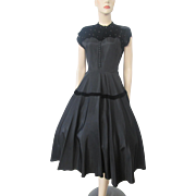 Black Swing Dress Vintage 1950s Velvet Rhinestone Cocktail Evening Wear Party Gown Special Occasion