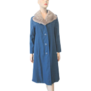 Blue Coat Grey Mink Fur Collar Vintage 1960s Womens Winter Outerwear Mod