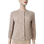 Womens Cardigan Sweater Vintage 1950s Tan Crocheted Floral Short Jacket