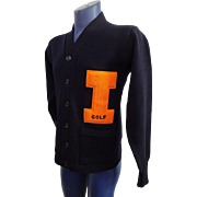 Mens College Golf Varsity Sweater Cardigan Vintage 1950s Navy Orange Fighting Illini University Illinois Sports