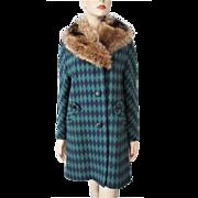 Hippie Penny Lane Womens Coat Vintage 1960s Fox Fur Collar Bold Diamond Wool Graphic Print Retro Boho Bohemian