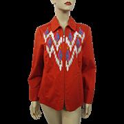 Bob Mackie Southwest Jacket Vintage 1980s Orange Designer Wearable Art - Red Tag Sale Item