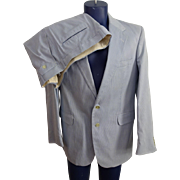 Mens Vintage 1970s Blue White Seersucker Suit Sport Coat Jacket Pants