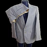 Mens Vintage 1970s Blue White Seersucker Suit Sport Coat Jacket Pants