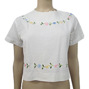 HOLD For Loreen: Womens White Blouse Vintage 1950s Pintucked Lace Floral Applique Cotton