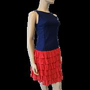 Vintage 1970s Womens Sleeveless Dress Red White Blue Polka Dot Ruffles