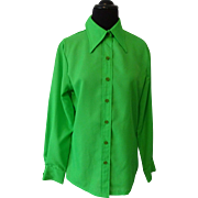 Dead Stock Green Blouse Vintage 1970s Pointed Collar Button Front Rhodes Salesman Sample