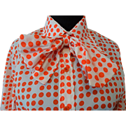 Vintage 1970s Orange White Polka Dot Womens Bow Neck Blouse