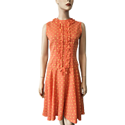 Womens Vintage 1970s Sleeveless Polka Dot Fit and Flare Dress Orange Yellow Cotton