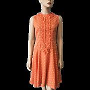 Womens Vintage 1970s Sleeveless Polka Dot Fit and Flare Dress Orange Yellow Cotton