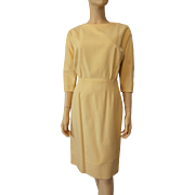 Yellow Wool Wiggle Dress Vintage 1950s Buttercup Figure Flattering Design