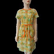 Mod Floral Print Dress Vintage 1970s Seersucker Plaid Daisy Shift Belt Step N Go