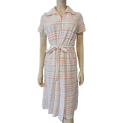 Vintage 1970s Peach White Lace Knit Shirt Dress With Belt Chevon Stripes