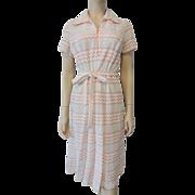 Vintage 1970s Peach White Lace Knit Shirt Dress With Belt Chevon Stripes
