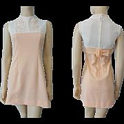 Mod Peach Mini Go Go Dress Vintage 1970s Butterfly Applique Belt Buckle Gay Gibson