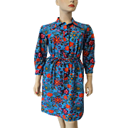 Blue Floral Dress Vintage 1970s Shirt Dress Pointed Collar Belt Serbin