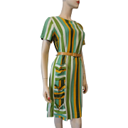 Vintage 1950s Linen Striped Day Dress Pocket Details Belt