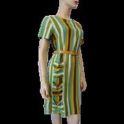 Vintage 1950s Linen Striped Day Dress Pocket Details Belt