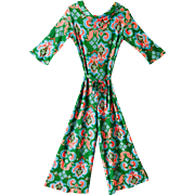 Psychedelic Jumpsuit Vintage 1970s Nylon Green Print With Belt
