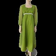 Olive Green Bohemian Maxi Dress Vintage 1970s White Daisy Trim