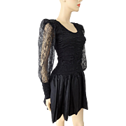 Black Punk Vintage 1980s Mini Dress Lace Ruched Bodice Rocker Party Prom