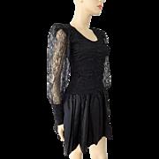 Black Punk Vintage 1980s Mini Dress Lace Ruched Bodice Rocker Party Prom